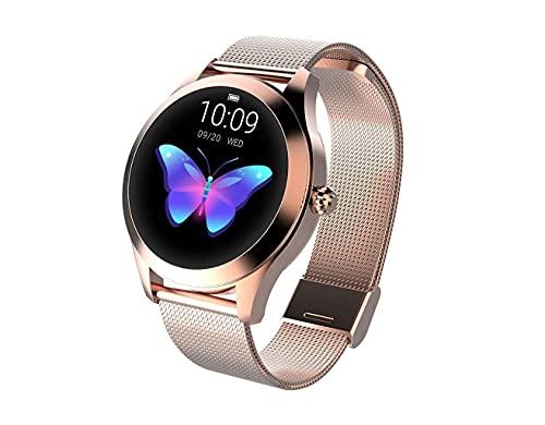 Reloj redondo IP68 a prueba de agua con pantalla táctil inteligente for las mujeres, Smart Watch KW10, perseguidor de la aptitud con la frecuencia cardíaca y dormir pulsera podómetro for iOS/A