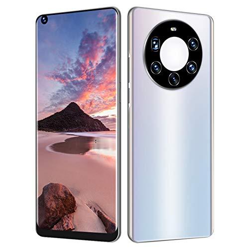 Mate40 Pro+ teléfono inteligente desbloqueado con doble SIM,pantalla perforada completa HD de 7.3 pulgadas para teléfonos celulares Android desbloqueados,6+64GB,rostro/huella dactilar desbloqueada(EU)