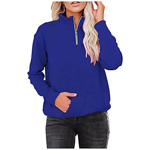 kelei Kawaii - Sudadera con capucha para mujer, estilo casual, color sólido, túnica de manga larga, azul, 4XL