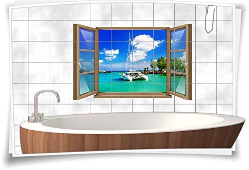 Adesivo per piastrelle, per finestra, yacht, barca, oceano, bossa, pietre vacanze, bagno, WC, pellicola decorativa, stampa digitale, 90 x 58 cm, 20 x 20 cm (larghezza x altezza) wb22fb2-108435