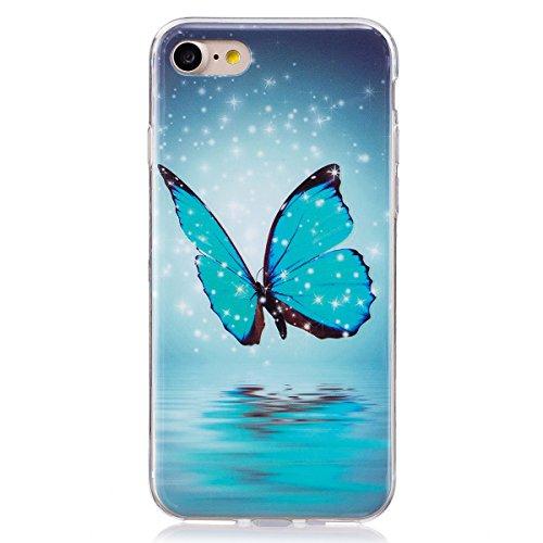 ISAKEN Compatibile con iPhone 7 /iPhone 8 Custodia, Agganciabile Luminosa Cover Case con Lampeggiante Ultra Sottile Morbido TPU Cover Rigida Gel Silicone Protettivo Custodia - Glitter Farfalle