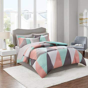 Queen 8pc Zuri Reversible Complete Bed Set Includes Sheets - Aqua