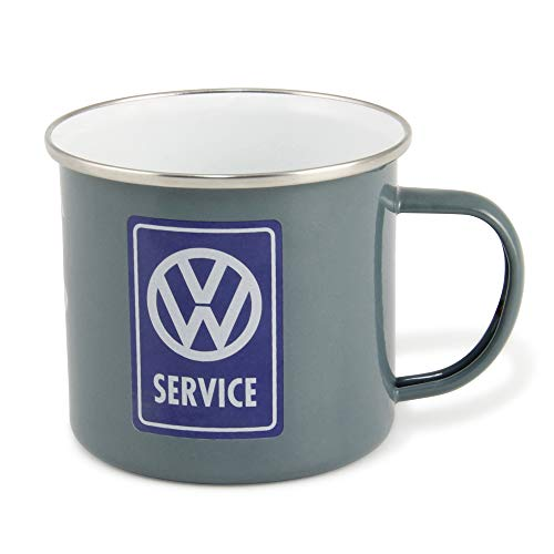 BRISA VW Collection - Volkswagen T1 Bulli Bus Emaille-Kaffee-Tee-Tasse-Becher für Küche, Outdoor - Camping-Zubehör/Geschenk-Idee/Souvenir (emailliert/500ml/VW Service/Grau)