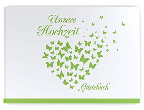 Gästebuch Hochzeit - Hardcover, ohne Fragen, A4 quer, Butterfly Heart (hell grün)