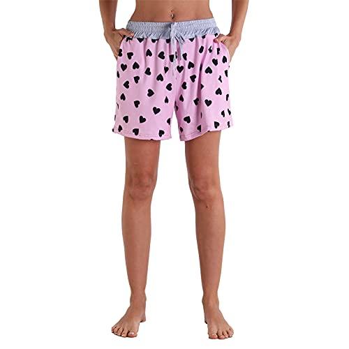 HFStorry Damen Kordelzug Elastische Taille Blumendruck Shorts Böhmen Zuhause Yoga Lässig Strand Surfen Fitness Outdoor Sport Shorts