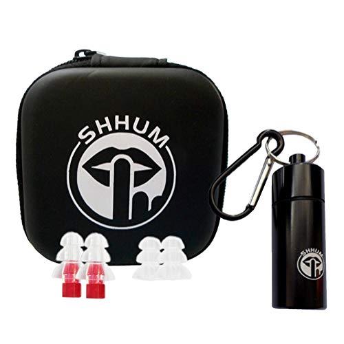 Shhum professionele kwaliteit gehoorbescherming oordopjes voor muziek, concerten, clubs, slapen, snurken en festivals met aluminium doos, Reserve ruisonderdrukkende oordopjes en behuizing