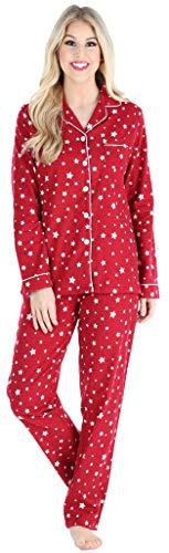 PajamaMania Women's Cotton Flannel Long Sleeve Button-Down Pajamas PJ Set, Cranberry Star, MED