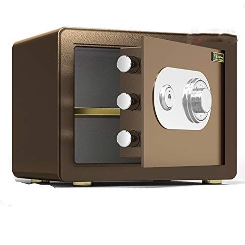 Cabinet Safes Mechanischer sicherer Haushalt Kleiner sicherer Anti-Diebstahl-All-Stahl-Passwort mit wichtigen Mini-feuerfesten Gürtelschloss (Color : Brown)
