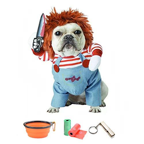 TVMALL 犬のコスチューム致命的な人形犬の衣装ペット服小さな犬の衣装のハロウィンコスプレプラス帽子面白い犬パーティー服クリスマス衣装と犬に適していますペットへのホリデーギフト - 予備のギフトフォールディングボウル+ごみ袋+トレーニングホイッスル (L