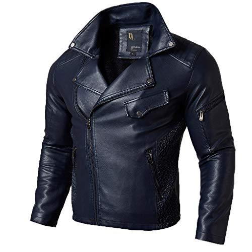Binggong Kurze Lederjacke Herren Kunstfell Mantel Jacke Revers Bomberjacke Bikerjacke Basic Motorrad Jacket Freizeitjacke