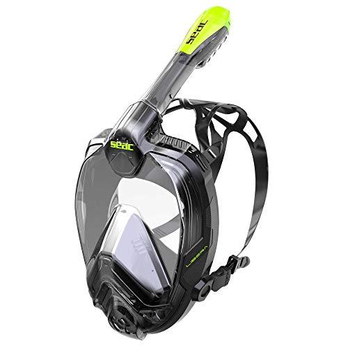 SEAC Libera Máscara intégral de Snorkeling, Adultos Unisex, Negro/Verde, L-XL