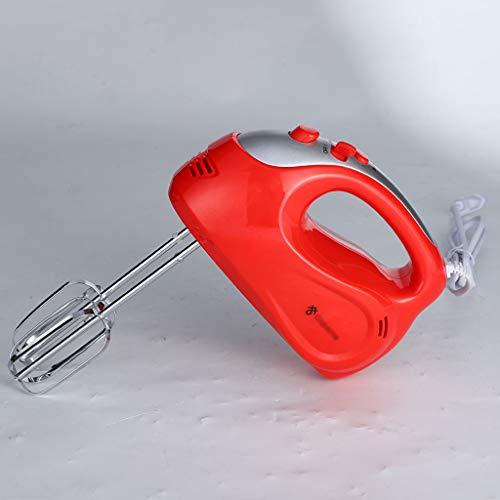 Elektrischer Handmixer, Handrührer, Handrührer Klein Edelstahl 5 Geschwindigkeitsstufen Plus Turbofunktion, ergonomischer Griff des Mixers, Schneebesen Knethaken aus Edelstahl,Red