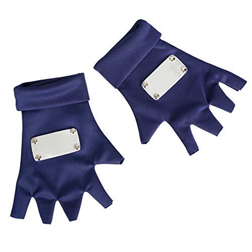 CoolChange Shinobi Handschuhe aus Stoff für Kakashi Hatake Cosplay Kostüm | Blau