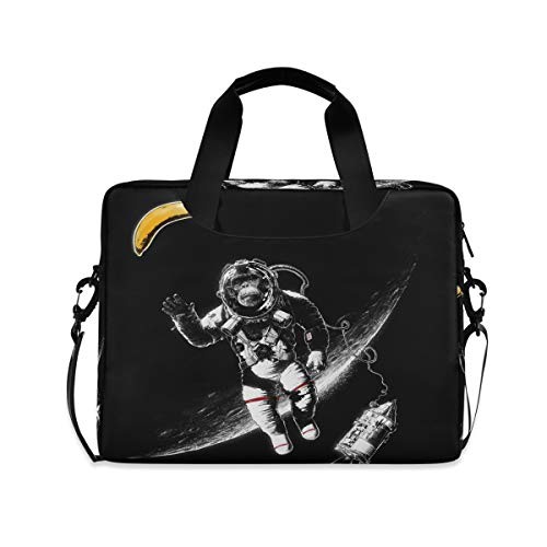MAHU Laptop Case Bag Monkey Astronaut Banana Laptop Sleeves Briefcase 13 14 15.6 inch Computer Messenger Bag with Handle Strap for Women Men Boys Girls