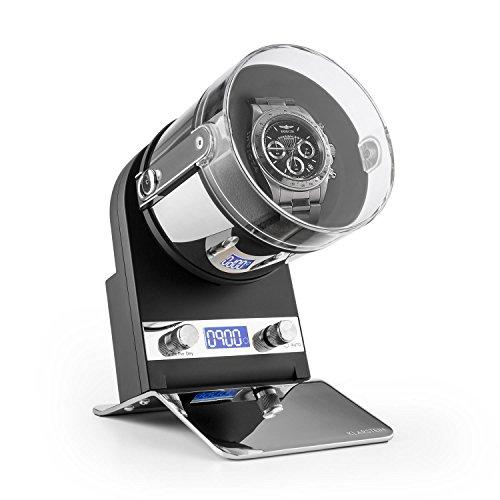 Klarstein Montreux - Custodia Orologi, Watches Winder, Carica Orologi, capacità: 1 x Orologio Automatico, Max. 3000 Colpi al Giorno, Silenzioso, Schermo LCD, 4 Diverse modalità, Nero