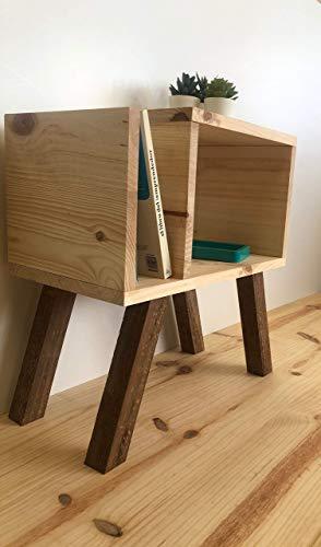 Rebajas oferta Mesita noche, mesa auxiliar de madera de pino, de 40x25x50h, color natural, patas envejecido, se hacen a medida, consultados