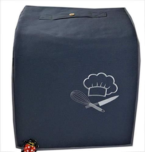 Abdeckhaube für Thermomix TM6, TM 5 Mod. Chefkoch, Dunkelgrau mit silbergrau, Canvas-Baumwolle Utensil- Taschen, Henkel, Stickerei, Abgefüttert,
