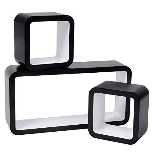 WOLTU RG9248ws Wandregal Cube Dekoregal Hängeregal Schweberegale, Außen Schwarz Lackiert, Weiß