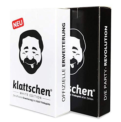 DENKRIESEN - klattschen® Doppelpack - klattschen & klattschen White Edition - Die wahrscheinlich besten Trinkspiele Aller Zeiten, Ausführung:Spielkartenkarton