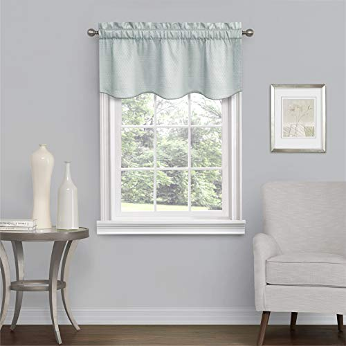 """Eclipse Canova Blackout Thermaback Window Valance Curtains for Kitchen or Bathroom, 42"""" x 21"""", River Blue"""