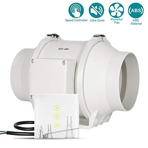 HG Power Afvoerventilator, 6 inch, stil, met snelheidsregelaar, draadloos, voor badkamer, kantoor, hotel, hydrocultuur Diamètre 125mm