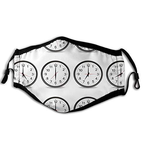Comfortabele Winddichte Gezichtsafdekking, Klokken met cijfers die elk uur illustratie uur en minuten hand laten zien, gedrukte Gezichtsafbeeldingen voor man en vrouw
