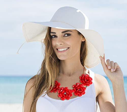 MBW Statement-Halskette XXL Blumen in der Farbe rot Modeschmuck Collier Trend-Schmuck