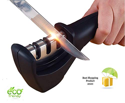 SmallCloud Kitchen Manual Knife Sharpener 3 Stage Sharpening Tools for Ceramic and Steel Knives
