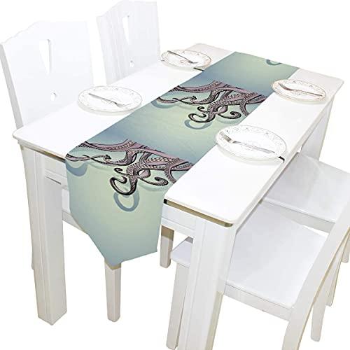 MODORSAN 13x70 Zoll Langer Tischläufer Ocean Purple Octopus Tentakel Dekorative Polyester Tischläufer Tischdecke für Zuhause Kaffee Küche Esstisch Party Bankett Urlaub Dekoration
