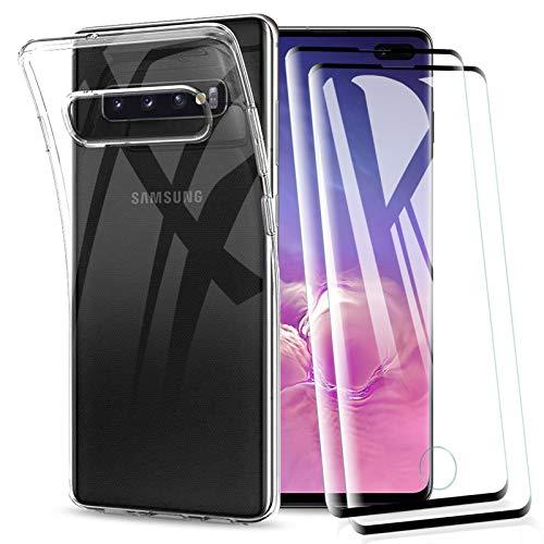 KEEPXYZ Coque Samsung Galaxy S10 Plus, avec Protection d'écran Verre Trempé pour Galaxy S10 Plus, Silicone TPU Transparent Bumper étui Souple Case + 2 Pcs Protecteur écran pour Samsung Galaxy S10 Plus
