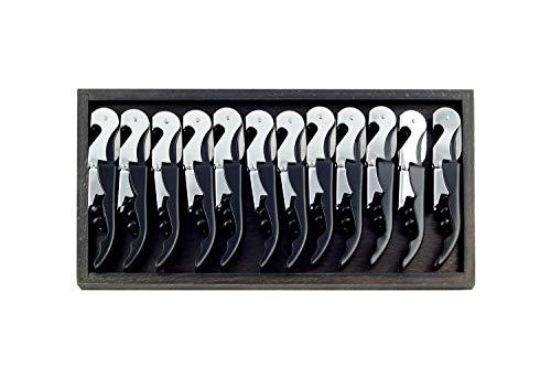 Hostelnovo – 12 uds de sacacorchos profesionales de 2 tiempos + Bandeja de madera color wengue – Acero inoxidable – color negro – ABS longitud 12 cm