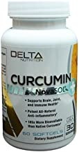 Delta Nutrition Curcumin+ w/NovaSOL Liquid Micelle Technology - 185x More Bioavailable Than 95% Standardized Native Curcumin - 60mg per Serving