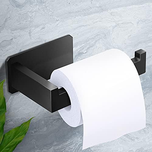 Toilettenpapierhalter, AURUZA Klopapierhalter Schwarz Selbstklebend Klorollenhalter ohne Bohren Edelstahl für Badzimmer