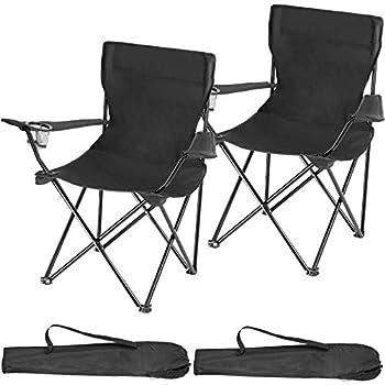 TecTake 800829 Lot de 2 Chaises de Camping Pliantes Portables 2 Places avec Porte-Gobelets et 2 Sacs de Transport ? Diverses Couleurs (Noir)