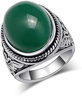 Cqqz مجوهرات الزمرد الطبيعي العتيق مصنوعة من الفضة القديمة منقوش على شكل الطوطم خاتم للرجال a2783 (أزرق فضي،8)