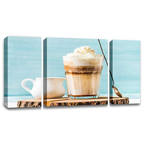 CCArtist Latte Macchiato with Whipped Cream Serving Silver Spoon and Pitcher Wall Decor Print on Canvas Modern Artwork Living Room Bedroom Painting Art Wall
