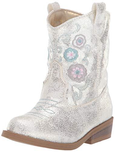 Baby Deer Pointed Toe Western Boot, Ivory, 7