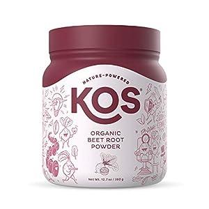 KOS Organic Beet Root Powder - Natural Nitric Oxide Boosting Beet Root Powder - USDA Organic, Stamina Increasing, Circulation Superfood Plant Based Ingredient, 360g, 90 Servings by KOS