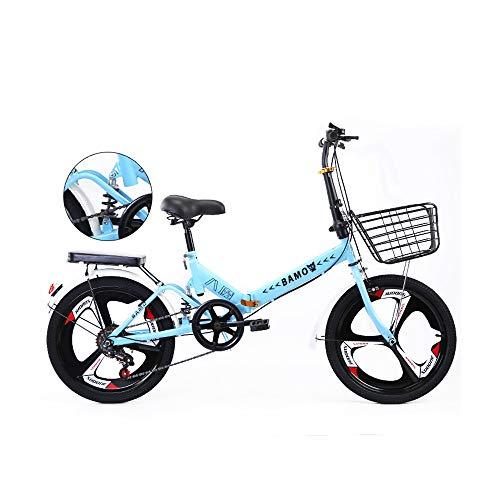 Bicicleta Plegable de 20 Pulgadas Ciclismo de Cercanías Bicicleta Ligera para El Estudiante Adulto de Las Mujeres,Azul,Variable Speed
