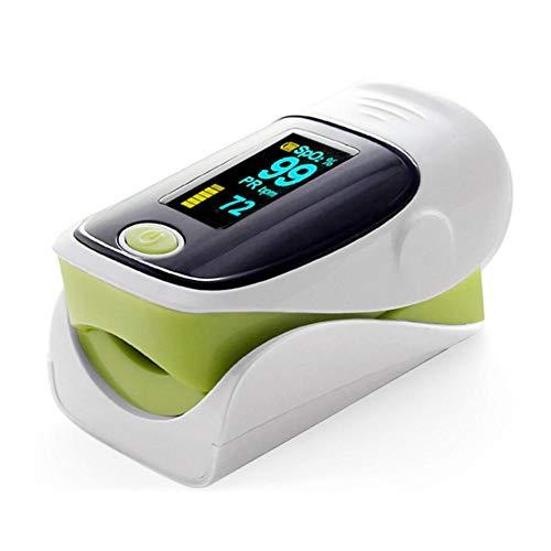 Pulsiossimetro, per Misurare la Saturazione di Ossigeno nel Sangue Tramite la Punta del Dito, con OLED Monitor, Batterie e Cordino,Verde
