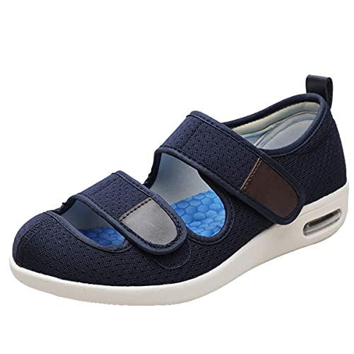 Hombres para Mujer Diabético Zapatillas, Confort Memoria Espuma Caminata Sandalia Transpirable Verano Ajuste Ajuste Casa Zapatos Interior Al Aire Libre,Azul,39
