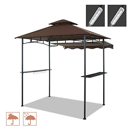 CHARMELEON Double Tiered Grill Gazebo 8X 5, Outdoor BBQ Patio Canopy Tent with Stretchable Side Awning and LED Light (Brown) Gazebos