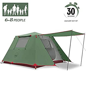 KAZOO Family Camping Tent Large Waterproof Pop Up Tents 6 Person Room Cabin Tent Instant Setup with Sun Shade Automatic Aluminum Pole