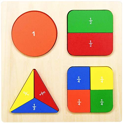 木製 分数 幾何 ブロック 数学 算数 パズル シェイプ 木のおもちゃ GYBBER&MUMU モンテソッリー教具 形合わせ認識 色認識 積み木 図形 型はめ 幼児 知育玩具