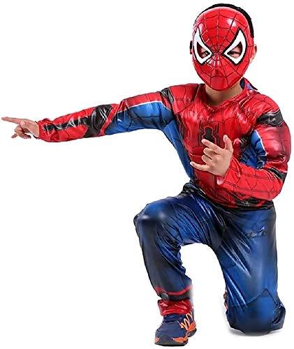 Vestito di Carnevale da Spiderman Tuta con Busto Muscoloso e Maschera Taglia M - 5-6 anni Costume da Uomo Ragno Spider-man Travestimento Bambini Cosplay Idea Regalo