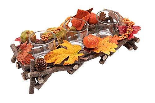 HEITMANN DECO Kerzenhalter aus Reisig - Herbstdeko, Tischdeko - zum Hinstellen - Natur, Orange, Gelb - mit DREI Kerzengläsern