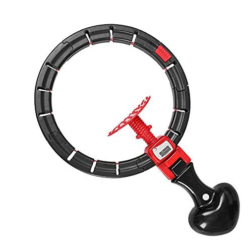 Attrezzatura per il fitness per l addome Hula Hoop ponderato con tavolo di conteggio Regolabile liberamente 12 nodi staccabili Hula Hoop intelligente adatto per bambini giovani adulti(Color:nero)