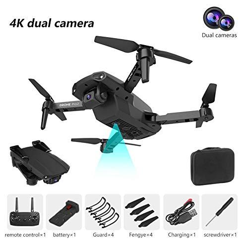 E99 Mini Drone Plegable Drone RC Quadcopter HD 480P/1080P/4K Larga Vida Aérea Fotografía Cuadricóptero para Entrenamiento dual camera 4K negro