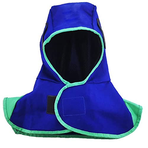 Naisicatar soldadura de la capilla de nylon resistente al calor Casco cuello de la cara del soldador Protección Seguridad Escudo Azul