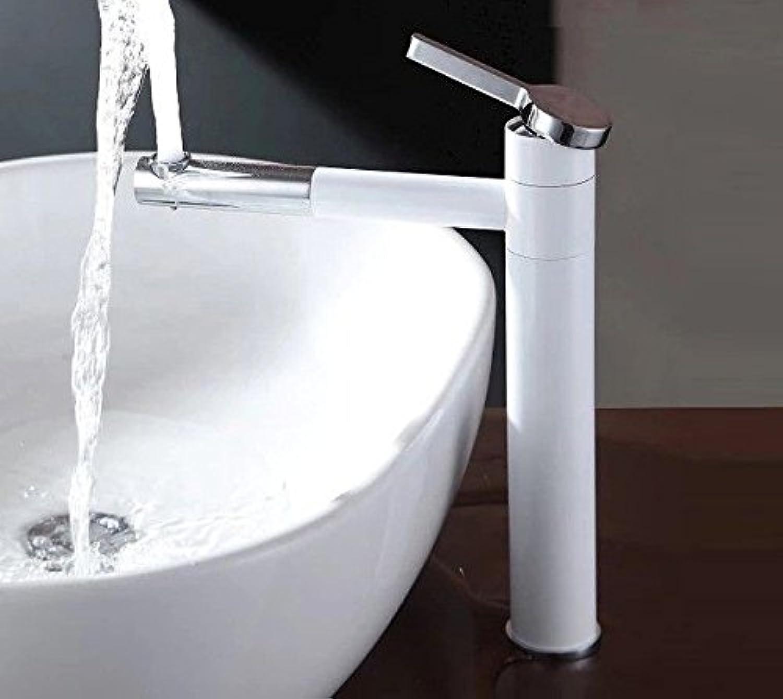 IJIAHOMIE Waschtischarmatur Badarmatur Wasserhahn Bad,Wassersparfunktion,Wasserfall Wasserhahn Waschbecken Voll Kupfer 360 Grad wirbelnde Spüle wei, Kurz
